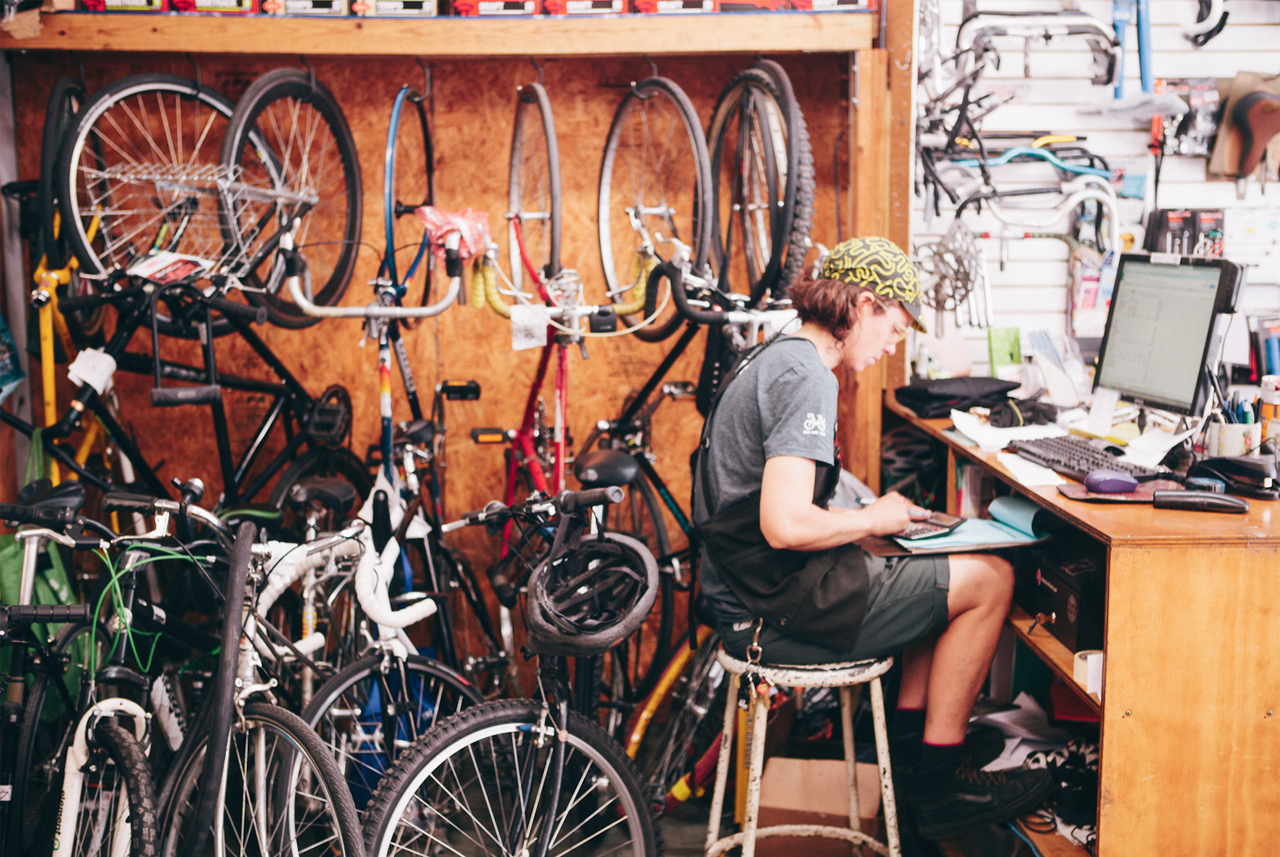 Hard at work at Recycle-A-Bicycle DUMBO.